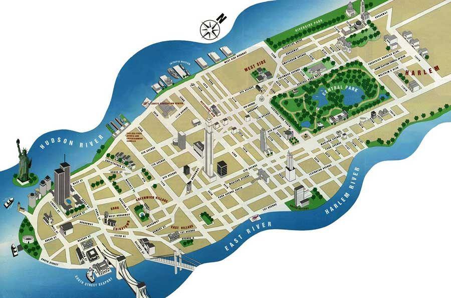 Mapa de Manhattan Nueva York - Tusguiasdeviaje