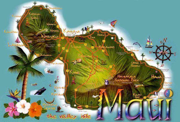 Viaje a Hawaii-Mapa de Maui