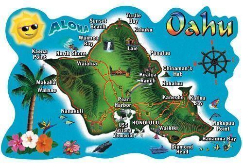 Viaje a Hawaii-Mapa de Oahu