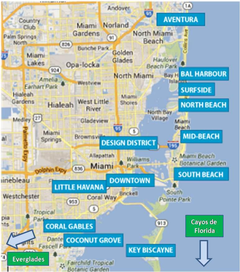 Mapa de Miami - Miami map - turismo