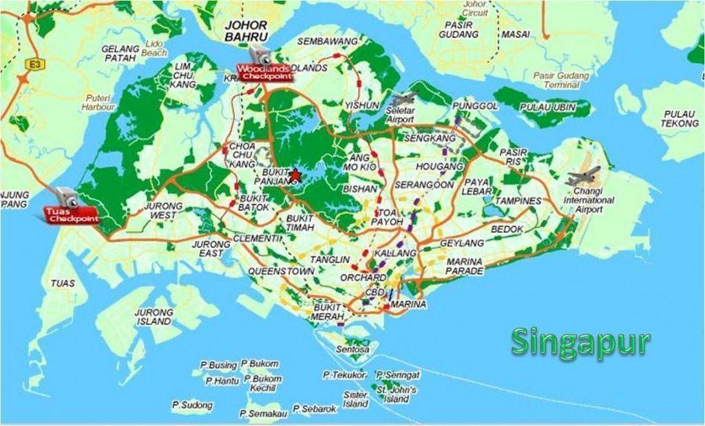 Mapa para viajar a Singapur