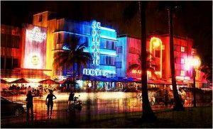 que ver en Miami-ocean drive de noche