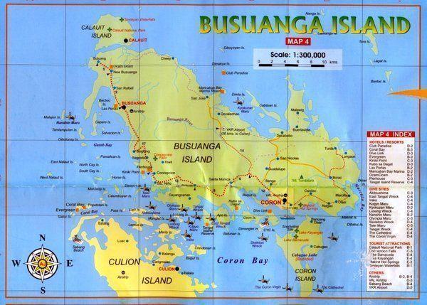 Mapa de Coron Busuanga-bucear en filipinas
