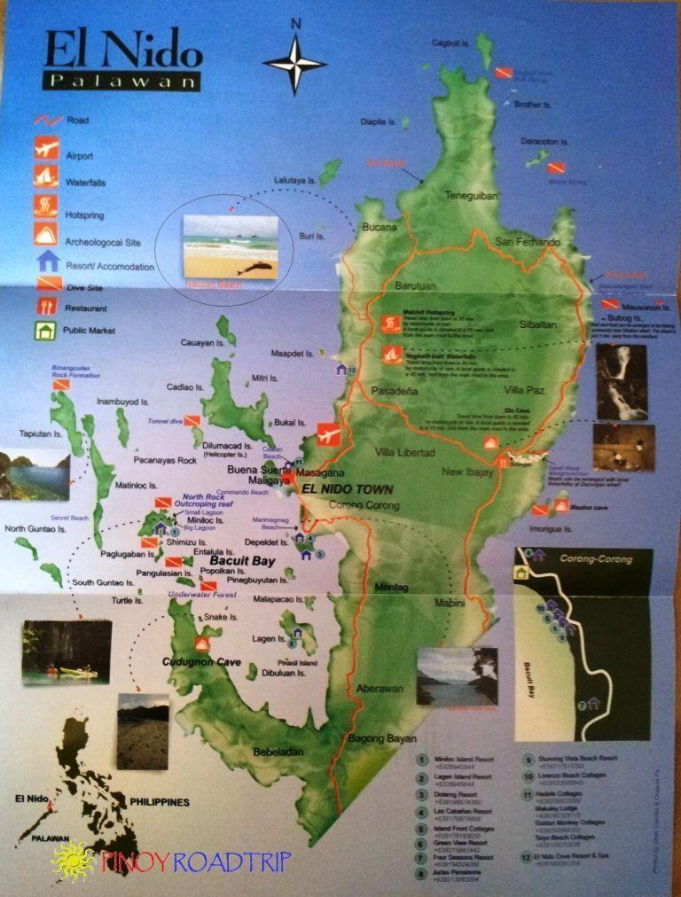 mapa de El Nido-viajar a Filipinas