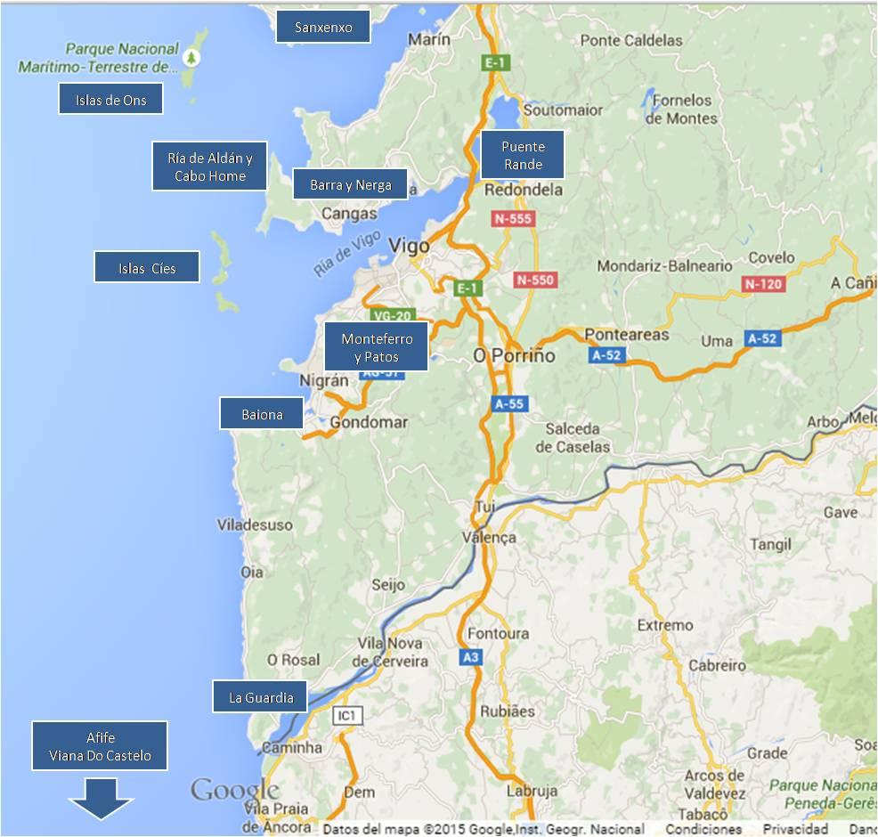 Mapa de Vigo y la Ría de Vigo