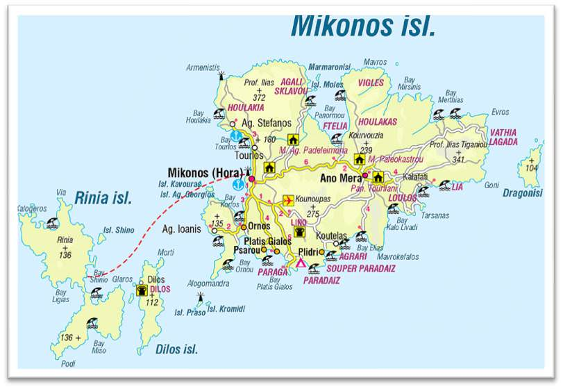 Mapa de Mykonos