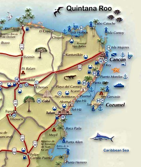 Mapa de la Riviera Maya