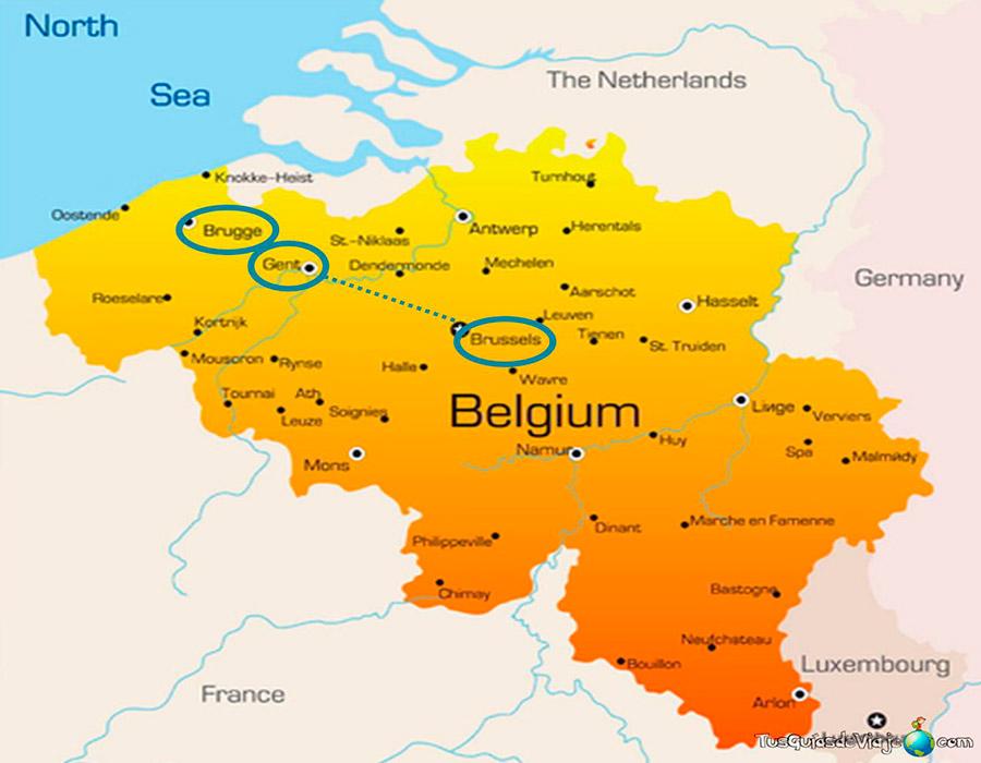 Mapa Bruselas, Gante y Brujas