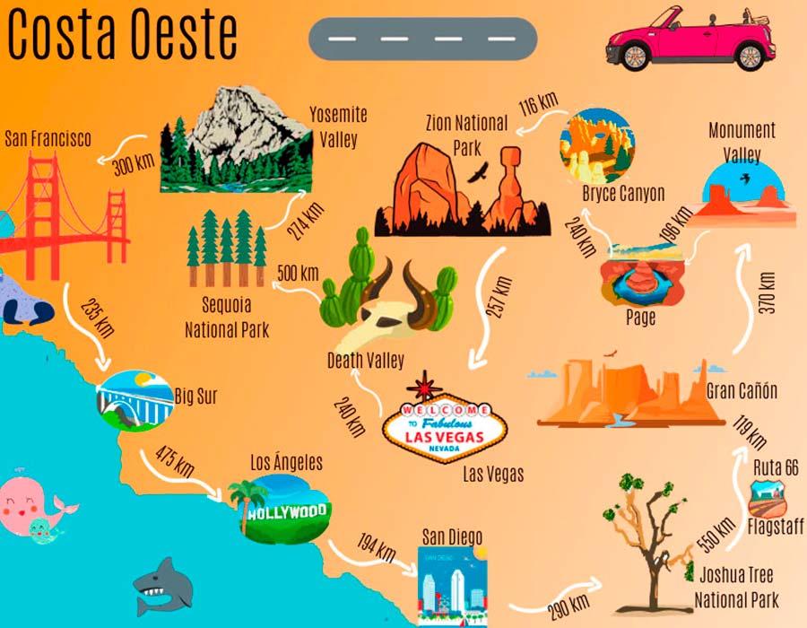 Mapa Costa Oeste de EEUU