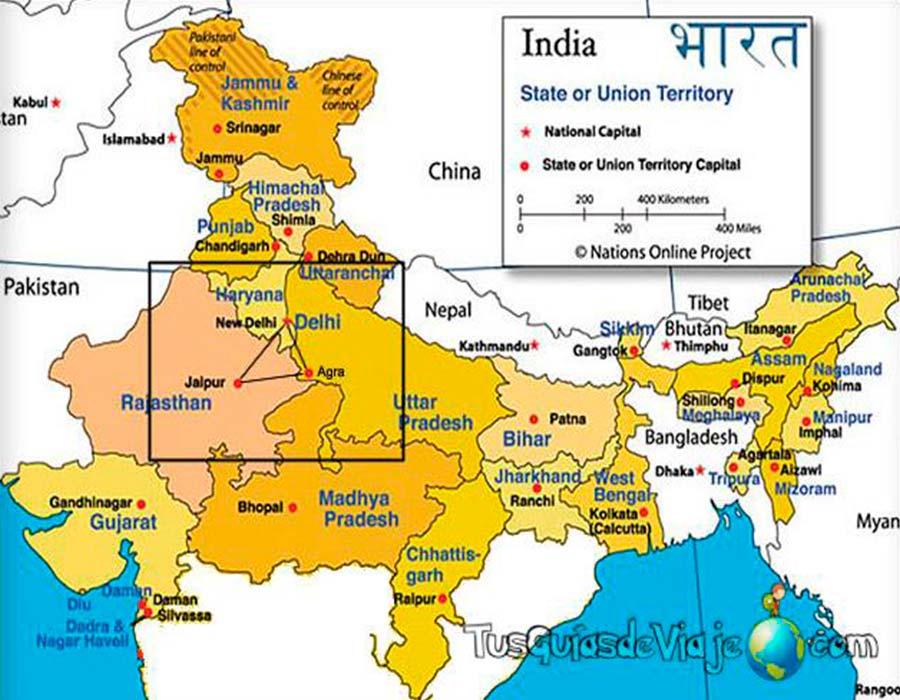 Mapa India TGDV