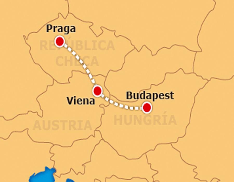 Mapa Praga, Viena, Budapest TGDV