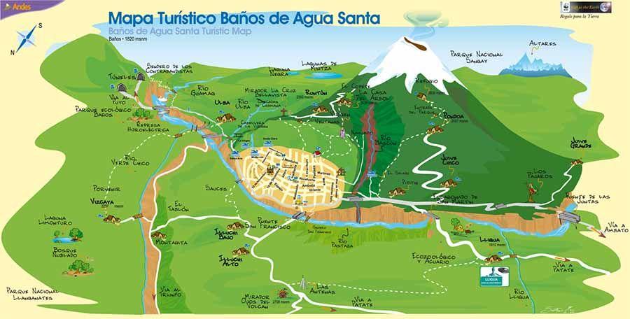 Mapa de Baño de Agua Santa Ecuador