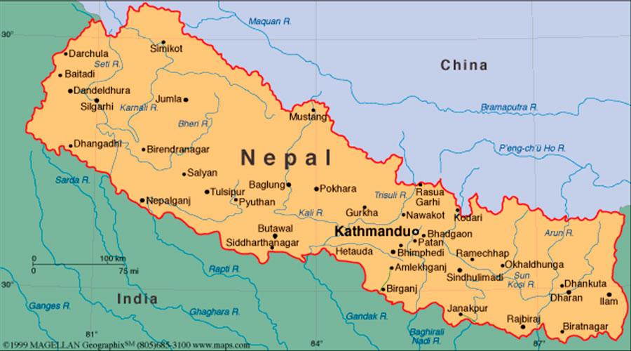 Mapa Nepal TGDV