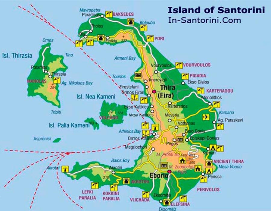 mapa Santorini TGDV