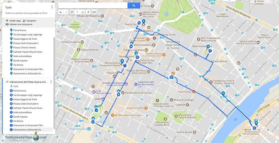 Mapa qué ver en Turin en 1 dia