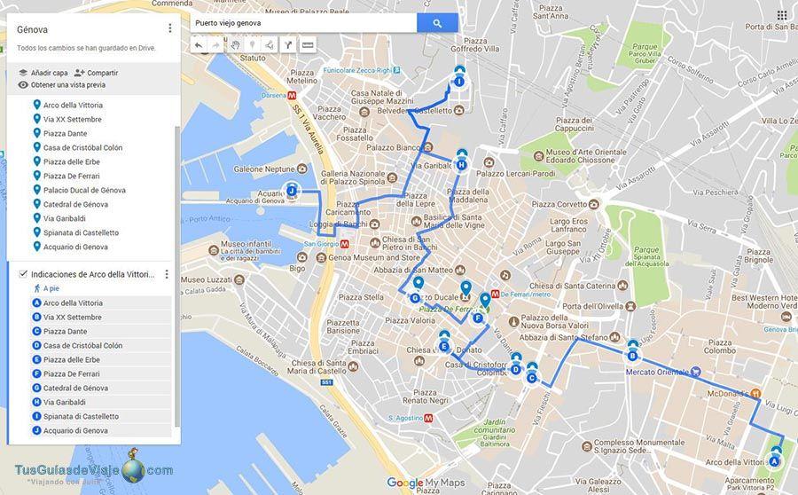 Mapa que ver en Genova en 1 dia