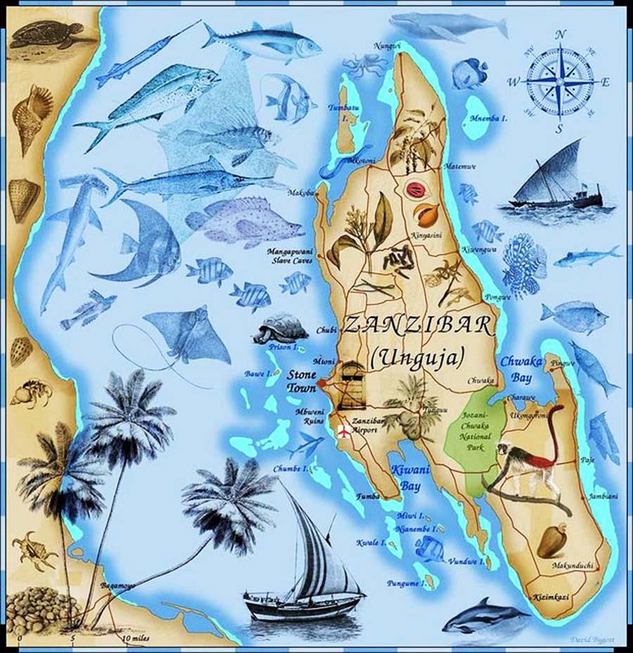 Mapa de Zanzíbar
